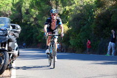 CORDOVA, SPAGNA - 26 agosto 2014: Vasyl Kiryienka (Team Sky) durante la fase di La Vuelta Fotografia Stock Libera da Diritti