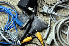 Cords and cables. An assortment of electronic cords and cables Royalty Free Stock Images
