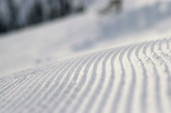 Corduroy. Snow corduroy on alpine skiing track Royalty Free Stock Photo
