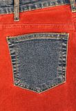 Corduroy clothing with denim pocket Stock Photos