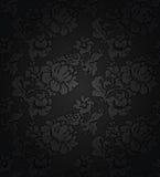 Corduroy dark background, ornamental gray flowers Royalty Free Stock Photography