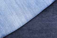 Corduroy pants and blue jeans Stock Image
