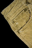 Corduroy pants detail. Close up of corduroy pants pocket detail Stock Images