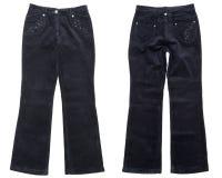 Corduroy trousers. Black corduroy trousers on white background Royalty Free Stock Photos