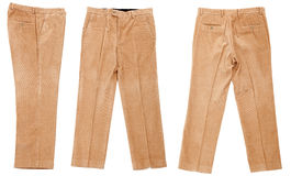 Corduroy trousers. On white background Stock Photos