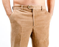 Corduroy trousers. On white background Royalty Free Stock Image