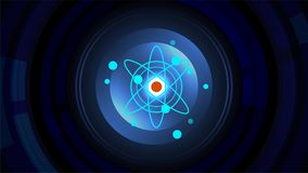 Core of atom molecule power background. Core of blue atom molecule and scientific power background concept Royalty Free Stock Image