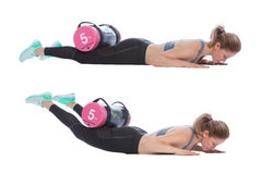 Core bag exercise. Executed with a professional trainer stock image