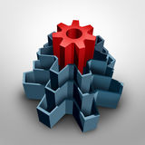 Core Business. Solution concept as an inner center red gear inside a group of larger cog shapes as a corporate foundation symbol for fundamental values and Stock Photos