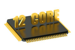 12 core chip CPU for smatphone and tablet. Isolated on white background Royalty Free Stock Image