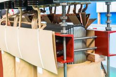 Core and coils assembly of transformer. Core and coils assembly of oil immersed transformer in manufacturing Stock Photo