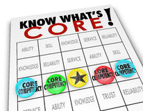 Core Competency Bingo Card Chips Win Unique Competitive Advantag. Core Competency bingo game lining up your competitive advantages and unique differentiators to Royalty Free Stock Photos