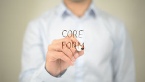 Core Form, Man writing on transparent screen. High quality stock image