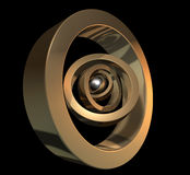Core Gold. 3D golden rings isolated on a black background Royalty Free Stock Images