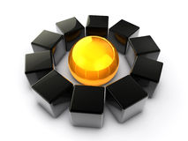 Core Importance. 3D render of black cubes with a golden sphere in the center Royalty Free Stock Photo