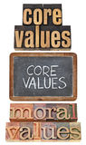 Core and moral values. Phrase - a collage of isolated text in vintage letterpress wood type and white chalk handwriting on a slate blackboard royalty free stock photography