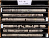 Core samples. Geological core samples in core boxes ready for analysis stock images