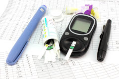 Core set to glucose control. Core set to control the level of glucose in the blood Stock Image