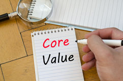 Core value text concept on notebook Stock Photography