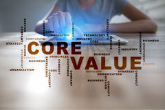 Core value on the virtual screen. Business concept. Words cloud. Stock Image
