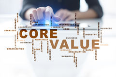 Core value on the virtual screen. Business concept. Words cloud. Stock Photos