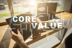 Core value on the virtual screen. Business concept. Words cloud. Core value on the virtual screen. Business concept. Words cloud Royalty Free Stock Photo