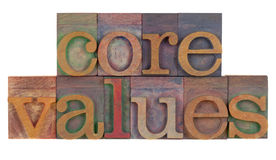 Core values. Ethics concept - core values words in vintage wooden letterpress printing blocks isolated on white stock images