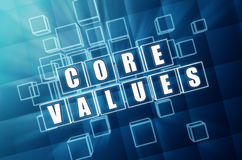 Core values in blue glass blocks Royalty Free Stock Image