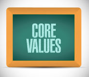 Core values board sign illustration design Stock Photography