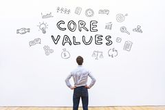 Core values concept. Core values for business, concept on white stock photos