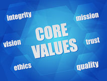 Core values and business concept words in hexagons Stock Photos