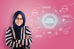 Core Values, business ethics motivational inspirational quotes. Words typography concept. Asian muslim businesswoman smiling royalty free stock photography