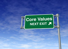 Core values business road sign symbol Stock Images