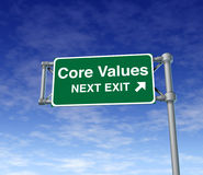 Core Values business symbol street road sign Royalty Free Stock Image