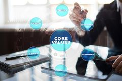 Core values business and technology concept on the virtual screen. Core values business and technology concept on the virtual screen Royalty Free Stock Images
