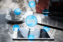 Core values business and technology concept on the virtual screen. Core values business and technology concept on the virtual screen Royalty Free Stock Image