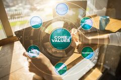 Core values business and technology concept on the virtual screen. Stock Images