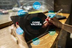 Core values business and technology concept on the virtual screen. Core values business and technology concept on the virtual screen Stock Images