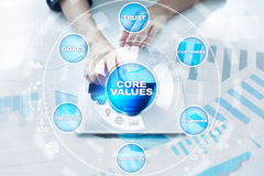 Core values business and technology concept on the virtual screen. Stock Photo