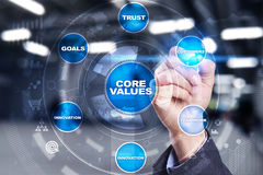 Core values business and technology concept on the virtual screen. Royalty Free Stock Photos