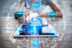Core values business and technology concept on the virtual screen. Stock Image