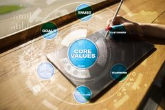 Core values business and technology concept on the virtual screen. Core values business and technology concept on the virtual screen Stock Image