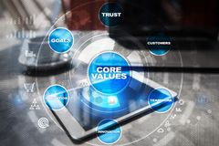 Core values business and technology concept on the virtual screen. Core values business and technology concept on the virtual screen Stock Photos