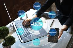 Core values business and technology concept on the virtual screen. Core values business and technology concept on the virtual screen Royalty Free Stock Photography