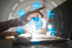 Core values business and technology concept on the virtual screen. Core values business and technology concept on the virtual screen Royalty Free Stock Photo