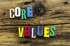 Core values character integrity virtue Stock Image