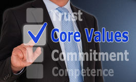 Core values checkbox. A core values concept image with a businessman touching a checkbox on a touchscreen stock image