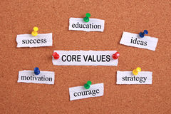 Core values. Concept paper words are pinned on cork royalty free stock photography