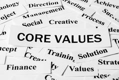 Core Values. Concept with some related words paper royalty free stock photos