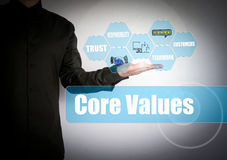 Core Values concept. Successful businessman at the light background Stock Photography